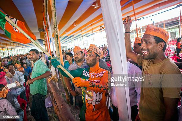 Supporters of the Bharatiya Janata Party gather to hear Indian Prime Minister Narendra Modi speak during a rally in Muzaffarpur Bihar India on...