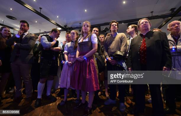 Supporters of the Christian Social Union react as exit poll results were broadcasted on public television at an election night event at the party's...