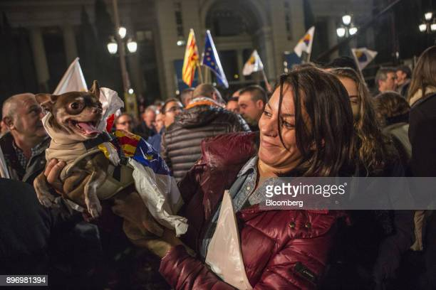 Supporters of the Ciudadanos party celebrate their electoral victory in Barcelona Spain on Thursday Dec 21 2017 An election in Catalonia Dec 21 gives...