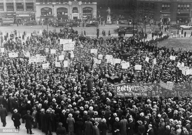 Supporters of the Civil Works Administration protesting against the forthcoming abolition of the organization, outside City Hall New York City, March...
