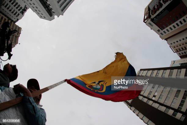 Supporters of the CREOSUMA movement clustered outside the National Electoral Council in support of Guillermo Lasso who does not recognize the results...