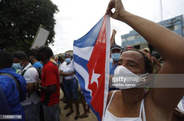 Supporters of the Cuban government in San Antonio de los Banos after the anti-government protests in which hundreds of people participated, in San...