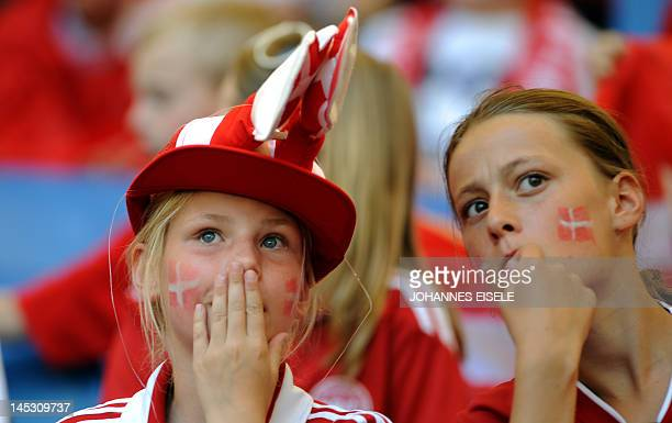 Supporters of the Danish national football team react during the international friendly football match Denmark vs Brazil at the Imtech Arena stadium...