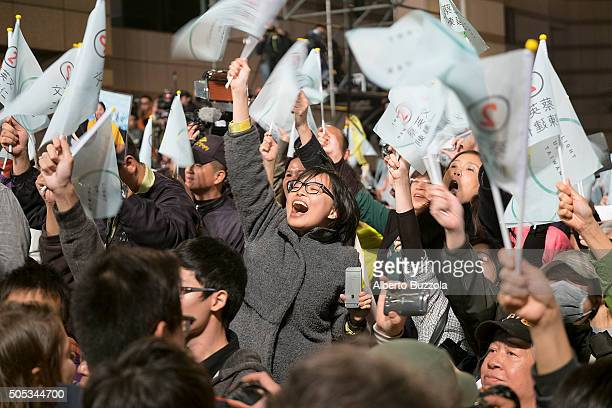 Supporters of the DPP of newly elected president Tsai Ing Wen cheer during a victory celebration in Taipei city Miss Tsai won with a margin of 3...