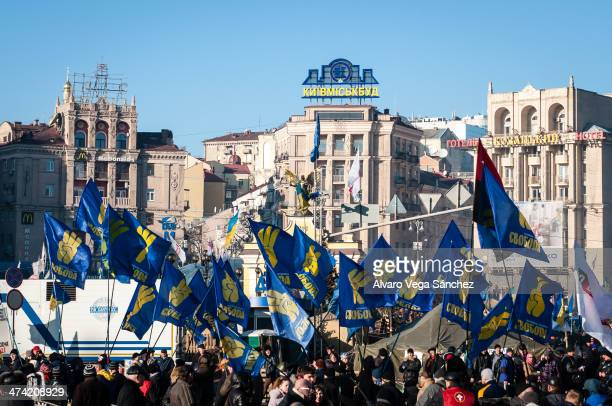 Supporters of the extremist ultra nationalist party of Svoboda gather in Euromaidan before a demonstration.