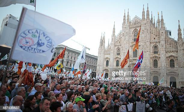 Supporters of the federalist and regionalist Italian political party Lega Nord and farright activists demonstrate against immigration at the Piazza...