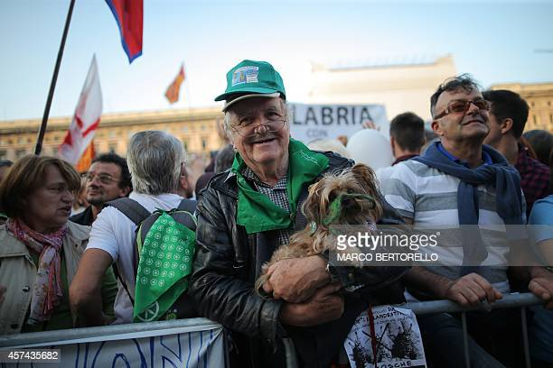 Supporters of the federalist and regionalist Italian political party Lega Nord and farright activists demonstrate against immigration on October 18...