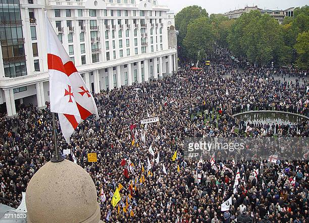 Supporters of the Georgian opposition rally in protest on the main square of Tbilisi 09 November 2003 Some 4000 protesters had gathered outside the...