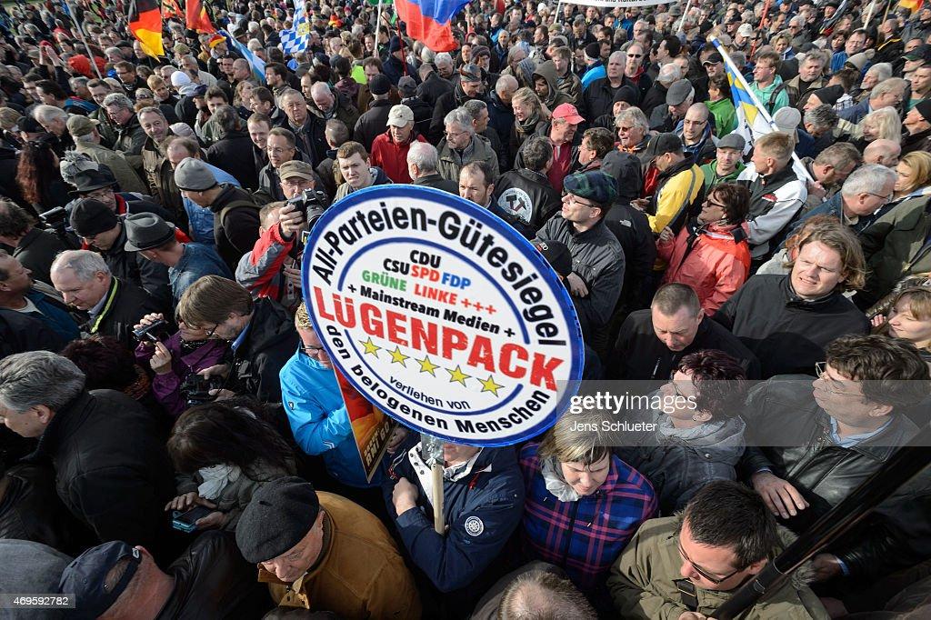 Geert Wilders Speaks To Pegida Gathering : News Photo
