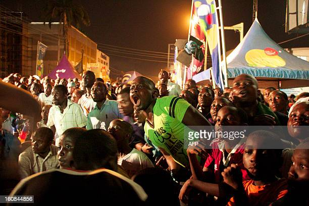 Supporters of the Ghana football team react as they watch the semifinal match of the Africa Cup of Nations between Ghana and Burkina Faso on February...
