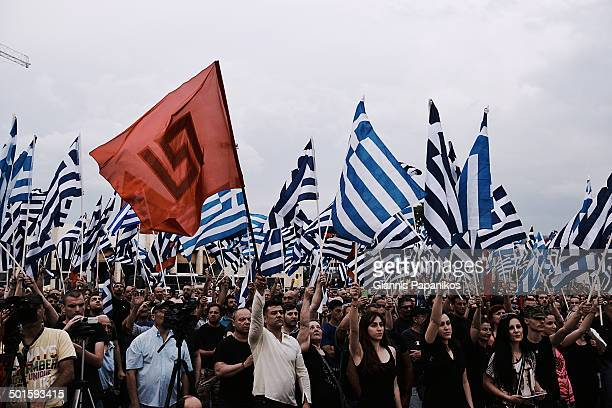 CONTENT] Supporters of the Greek far right party Golden Dawn during a rally in Thessaloniki Greece 2014