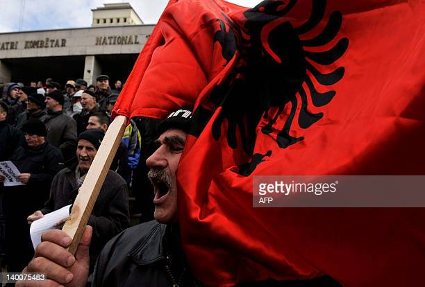 Supporters of the hardline ethnic Albanian SelfDetermination movement Vetvendosje protest in Pristina on February 27 against a deal with Serbia that...