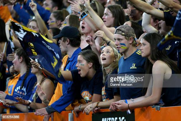 Supporters of the Highlanders react during the round two Super Rugby match between the Highlanders and the Blues at Forsyth Barr Stadium on February...