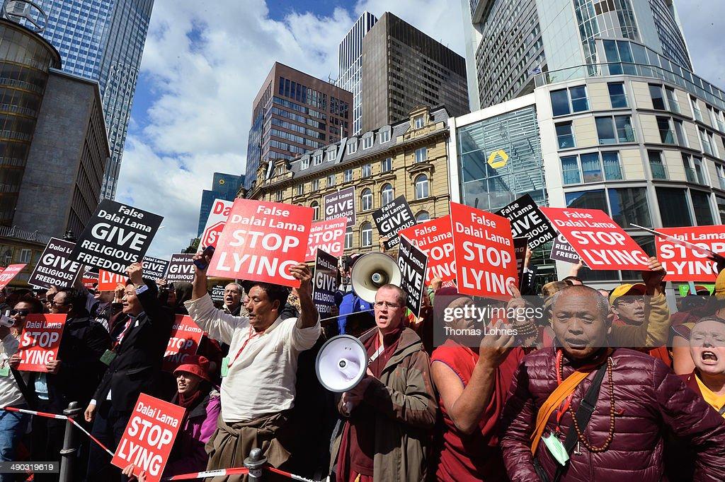 The Dalai Lama, Amidst Protests, Visits Frankfurt : News Photo