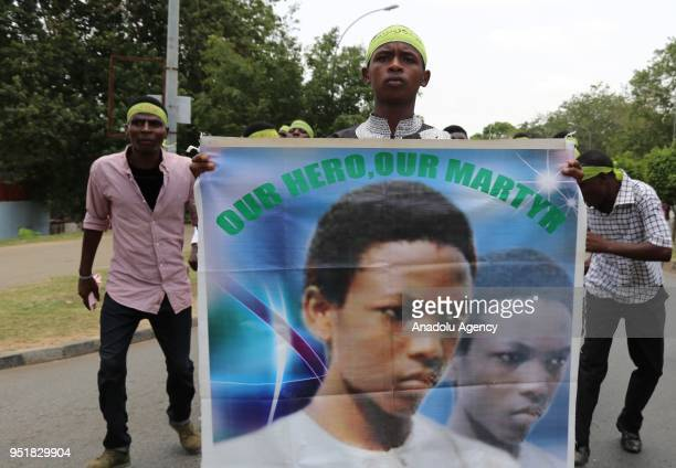 Supporters of the Islamic Movement's leader and Shi'a Muslim cleric Ibrahim Zakzaky stage a protest seeking immediate release of their leader in...