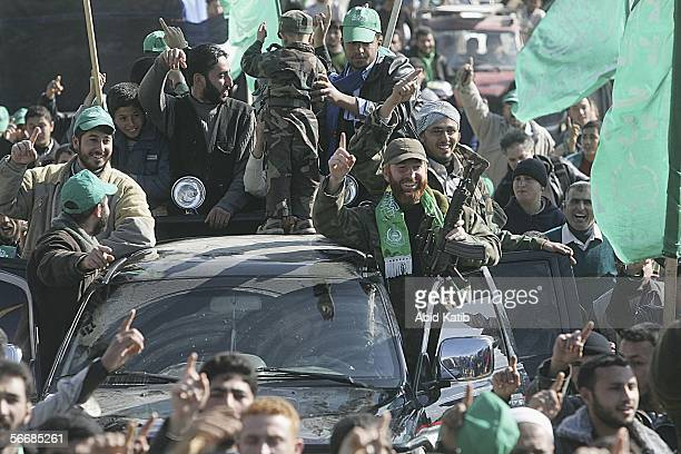 Supporters of the Islamic Resistance Movement Hamas celebrate their Palestinian election victory on January 27 2006 in Beit Lahia town northen Gaza...