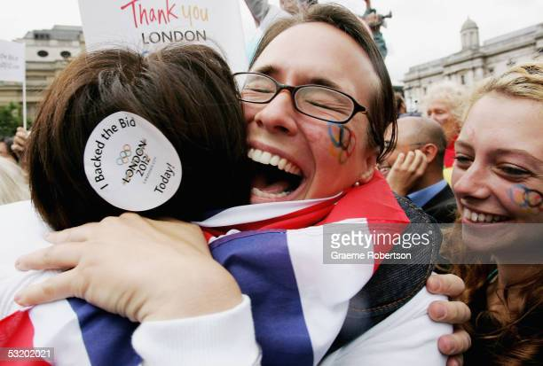 Supporters of the London bid celebrate the result of London winning their bid to become the host city of the 2012 Olympic Games on July 6, 2005 in...