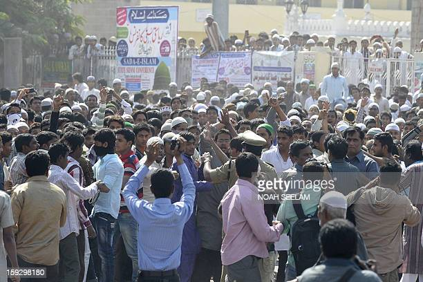 Supporters of the MajliseIttehadul Muslimeen party demonstrate outside the historic Mecca Masjid following congregational Friday prayers in Hyderabad...