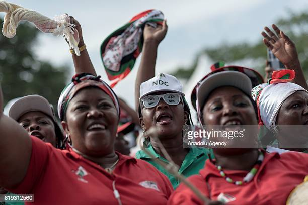 Supporters of the National Democratic Congress party attend a support rally ahead of Ghanaian general election in Accra Ghana on October 30 2016