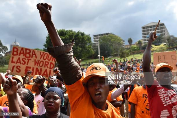 Supporters of the National Super Alliance opposition leader Raila Odinga gather and react as their leader addresses them and calls for boycott of the...