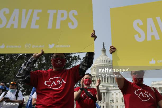 Supporters of the National TPS Alliance, a grassroots organization made up of immigrant rights groups, rally at the U.S. Capitol following a federal...