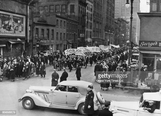 Supporters of the New Deal agency, the Works Progress Administration, marching at 27th Street and 8th Avenue, New York City, in protest at layoffs,...