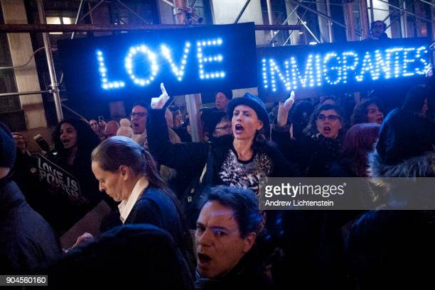 Supporters of the New Sanctuary Movement rally outside a Homeland Security detention center to protest the arrest and probable deportation of...