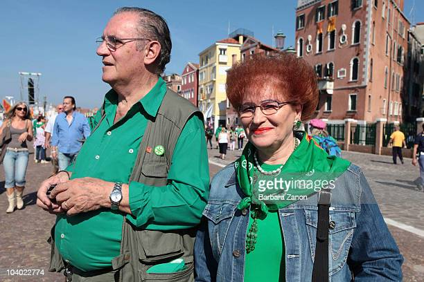 Supporters of the Northern League Party attend the Lega Nord Annual Party Rally on September 12, 2010 in Venice, Italy. The annual event is held to...