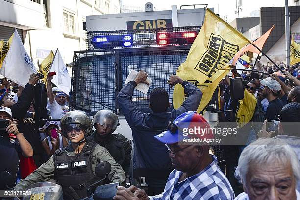 Supporters of the opposition coalition gather near the National Assembly in Caracas Venezuela on Tuesday Jan 5 2016 The majority in the National...