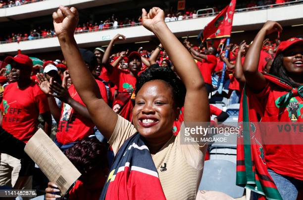 Supporters of the opposition party Economic Freedom Fighters react during EFF final election rally at Orlando Stadium on May 5 2019 in Soweto ahead...