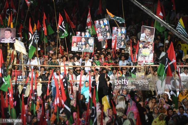 Supporters of the opposition party Pakistan People's Party gather for an antigovernment rally in Karachi on October 18 2019 Chairman of opposition...