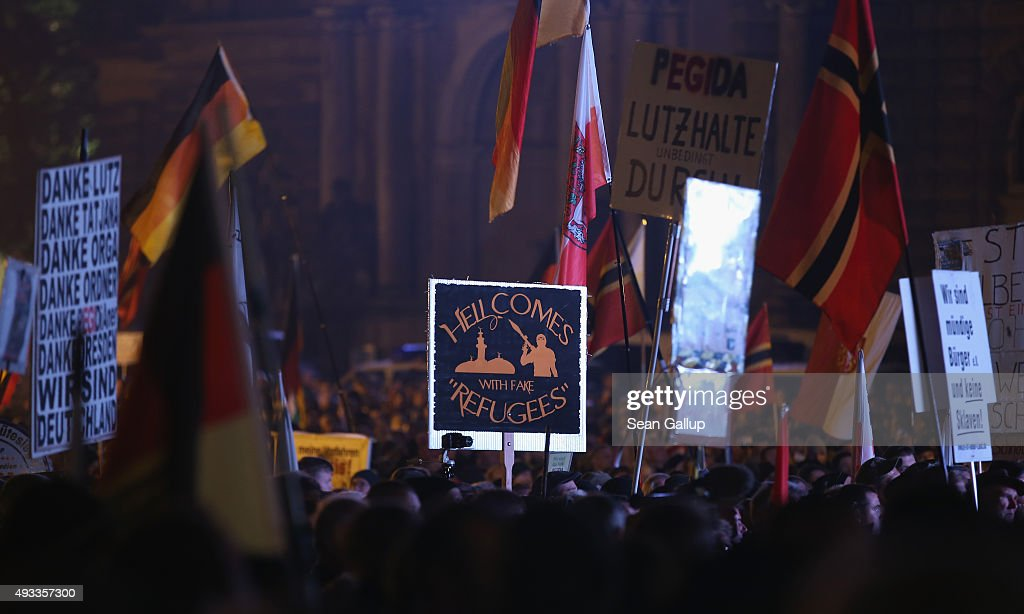 Pegida Movement Marks First Anniversary : News Photo
