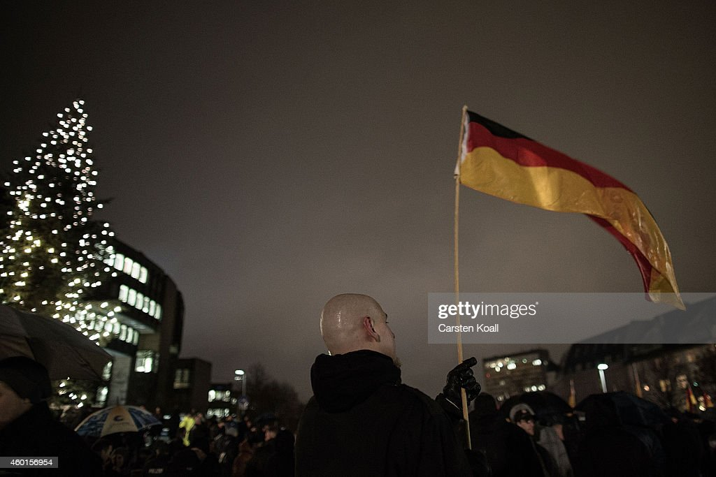 Pegida Supporters March In Duesseldorf : News Photo