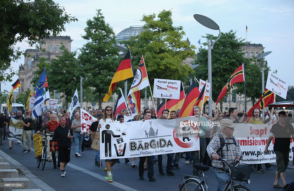 Pegida Supporters March In Berlin : News Photo