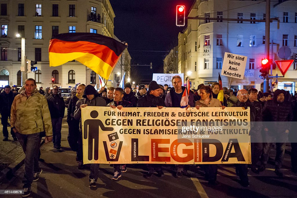 Pegida Holds First March In Leipzig : News Photo