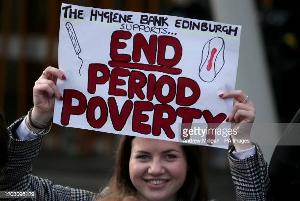 Supporters of the Period Products bill at a rally outside Parliament in Edinburgh as legislation for Scotland to become the first country in the...