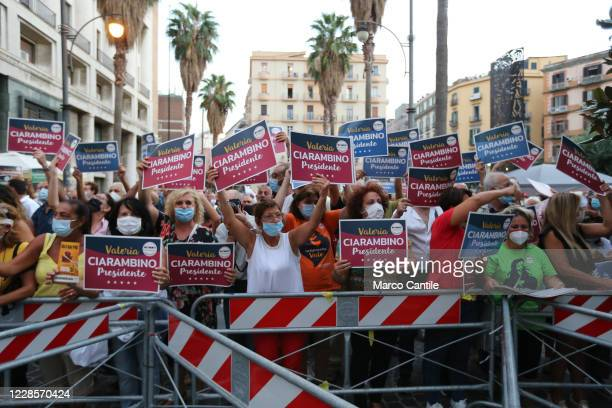 Supporters of the political party Movimento 5 Stelle, during the rally, for the regional elections in Campania to support the candidate president...