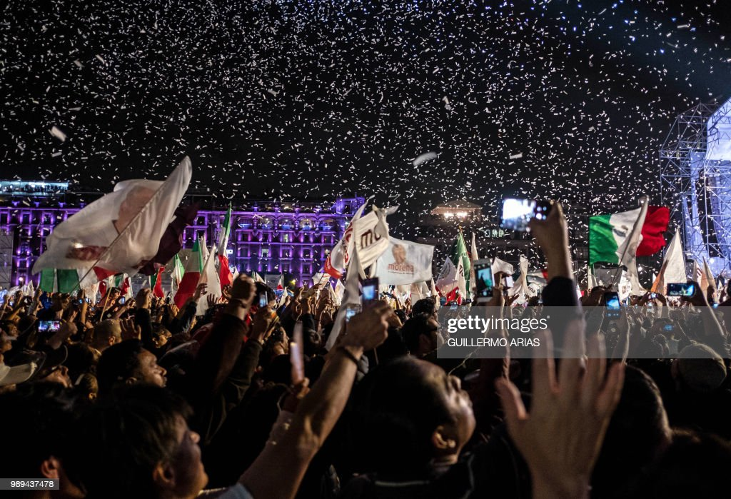 TOPSHOT-MEXICO-ELECTION-LOPEZ OBRADOR-SUPPORTERS-RESULTS-CELEBRA : News Photo