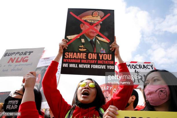 Supporters of the pro-democracy movement in Myanmar demonstrate in London, United Kingdom on May 02, 2021.