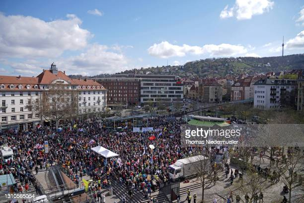 Supporters of the Querdenken movement gather at Marienplatz for what they claim are their basic rights during the third wave of the coronavirus...