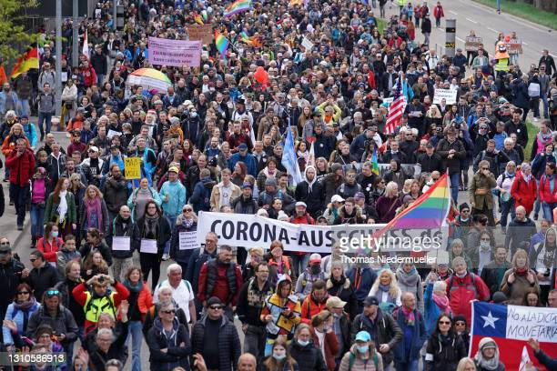 Supporters of the Querdenken movement march for what they claim are their basic rights during the third wave of the coronavirus pandemic on April 03,...
