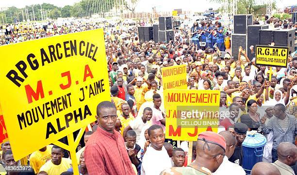 Supporters of 'The Rally of the Guinean People' gather on August 11 2015 in Conakry during the party national convention in which Guinea President...