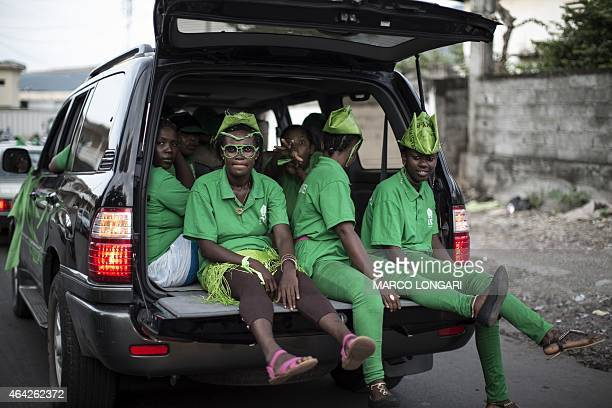 Supporters of the Rassemblement démocratique des Comores parade in Moroni on February 23 2015 Minor incidents were reported during the vote on Sunday...