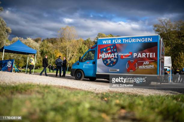 Supporters of the rightwing Alternative for Germany prior the speech of Bjoern Hoecke leader of the rightwing Alternative for Germany political party...