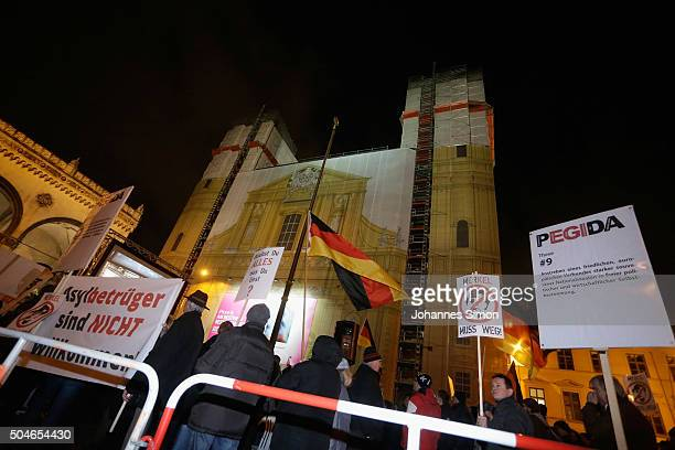 Supporters of the rightwing populist group Pegida march on January 11 2016 in Munich Germany Pegida and other rightwing activists have been quick to...