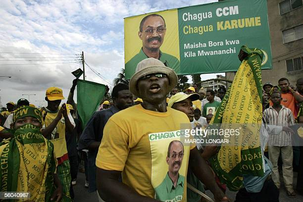 Supporters of the ruling Revolutionary party celebrate the victory of their leader Amani Abedi Karume 01 November 2005 in the presidential elections...