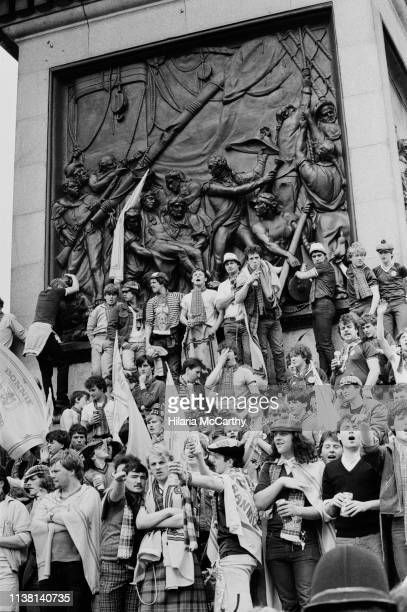 Supporters of the Scotland national football team at Nelson's Column in Trafalgar Square, London, UK, 1st June 1983.