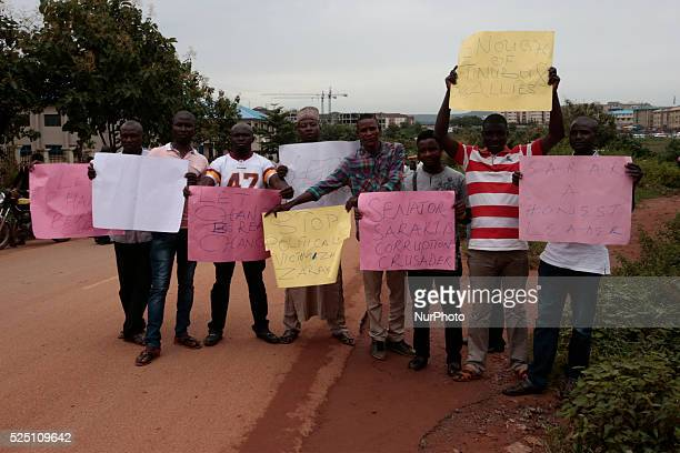 Supporters of the Senate President Bukola Saraki seen outside the premises of the Code of Condult tribunal in ABuja Nigeria September 21 2015 Code of...