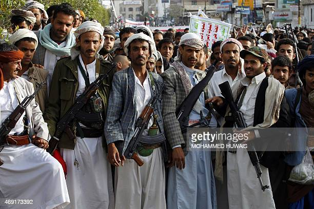 Supporters of the Shiite Huthi movement take part in a demonstration in Sanaa on April 10 2015 against the Saudiled military 'Decisive Storm' air...