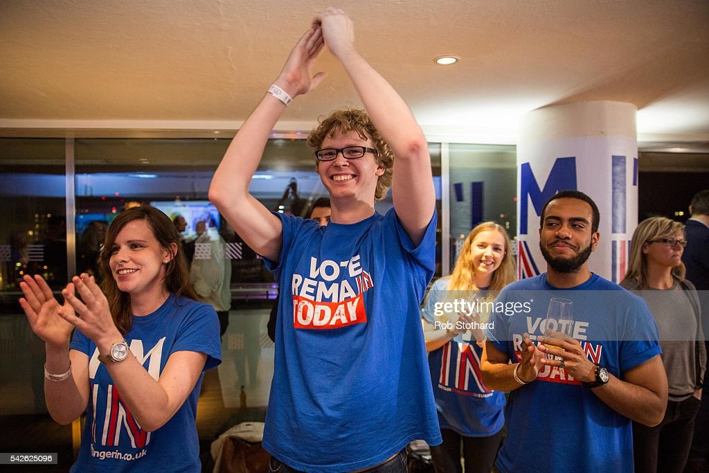 Supporters of the Stronger In Campaign cheer as the EU referendum result from Gibraltar is announced at the Royal Festival Hall on June 23, 2016 in London, United Kingdom. The United Kingdom has gone to the polls to decide whether or not the country wishes to remain within the European Union. After a hard fought campaign from both REMAIN and LEAVE the vote is too close to call. A result on the referendum is expected on Friday morning.